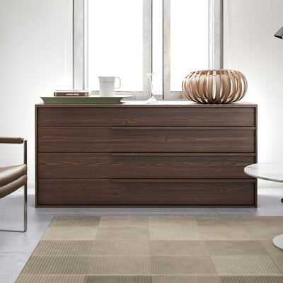 Jane 4 Drawer Dresser Color: Walnut