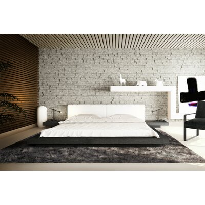 Worth Upholstered Platform Bed Size: California King, Color: Gray Oak / White Leather