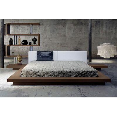 Worth Upholstered Platform Bed Size: King, Color: Walnut / White Leather