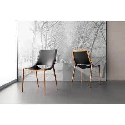 Sloane Upholstered Dining Chair Upholstery Color: Black / Teak