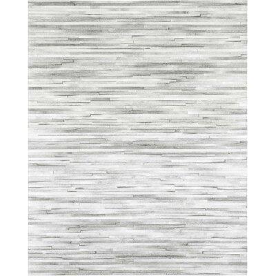 Jenga Cowhide Hand-Woven Light Gray Area Rug Rug Size: 8 x 10