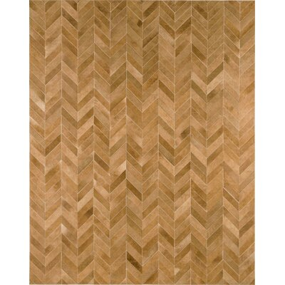 Chevron Cowhide Hand-Woven Pearl Beige Area Rug Rug Size: 9 x 12