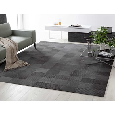 Laser Lines Cowhide Hand-Woven Lead Gray Area Rug Rug Size: 9 x 12