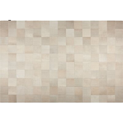 Laser Lines Cowhide Hand-Woven Off White Area Rug Rug Size: 9 x 12
