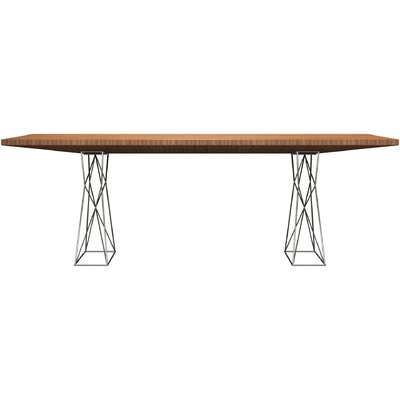 Curzon Dining Table Size: 7 3 L, Finish: Stainless Steel/Teak