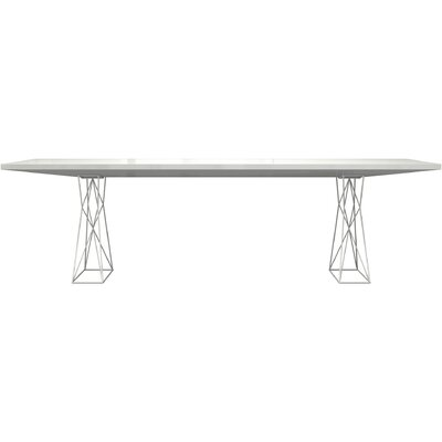 Curzon Dining Table Size: 7 3 L, Finish: White/ White