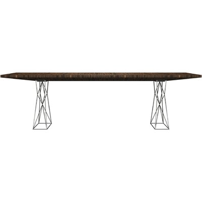 Curzon Dining Table Size: 7 3 L, Finish: Stainless Steel/Cathedral Oak