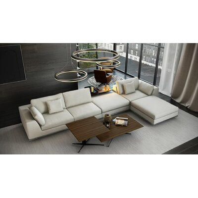 Perry 1 Arm Corner Sectional Upholstery: Moonbeam