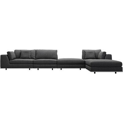 Perry 1 Arm Corner Sectional Upholstery: Shadow Gray