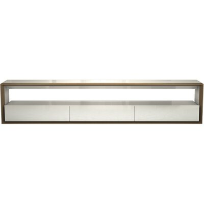 Beckenham 79-94 TV Stand Color: White/Walnut, Width of TV Stand: 94