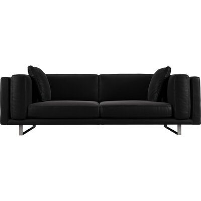 Fulton Top Grain Leather Sofa Upholstery: Black Brown