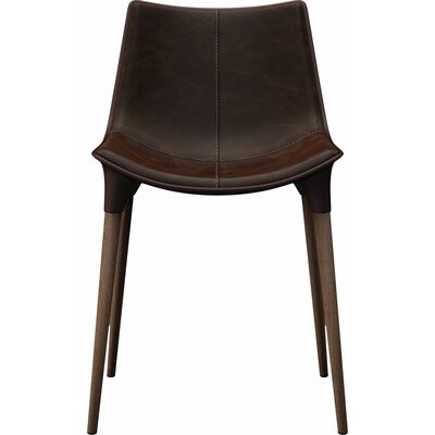Langham Dining Chair Finish: Aged Mocha Leather on Dark Teak