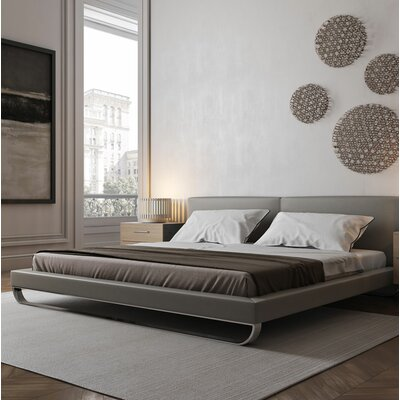 Chelsea Upholstered Platform Bed Size: Queen, Color: Castle Gray Eco Leather