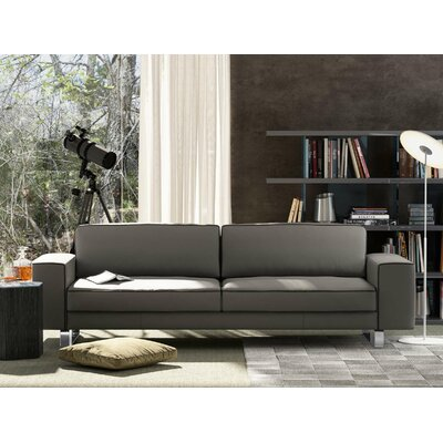 Waverly Leather Sofa Upholstery: Warm Gray