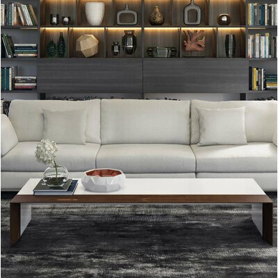 Beckenham Coffee Table Color: White Lacquer / Walnut