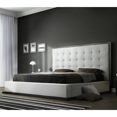 Ludlow Upholstered Platform Bed Size: Queen, Color: Wenge / White