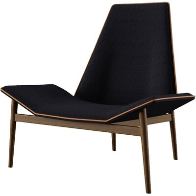 Kent Lounge Chair Upholstery: Black Linen with Caramel Accent