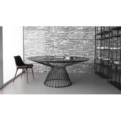 Carlisle Dining Table Top Color/Base Color: Black Glass / Black Matte