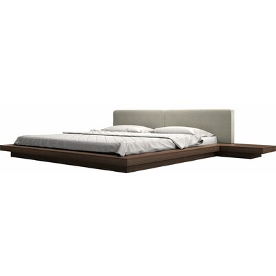 Worth Upholstered Platform Bed Size: King, Color: Oatmeal / Espresso