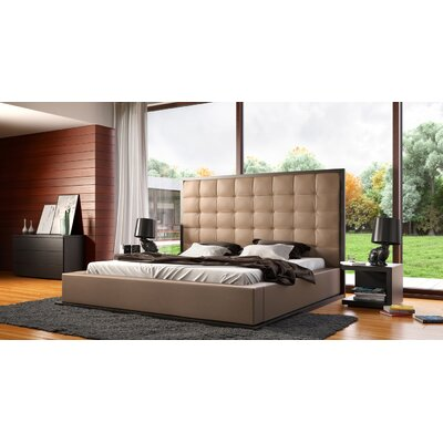 Ludlow Upholstered Platform Bed Size: Queen, Color: Wenge / Taupe