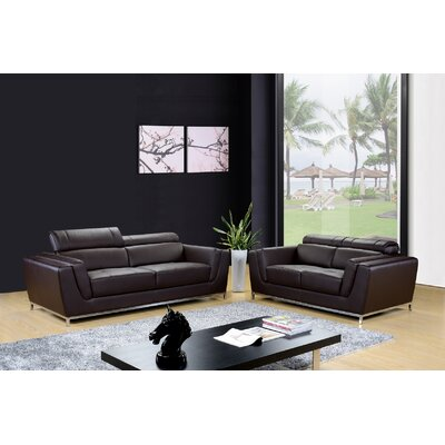Dela 2 Piece Leather Living Room Set