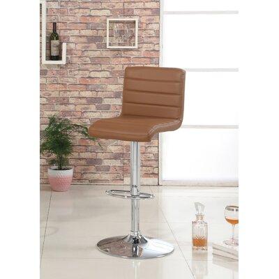 Elenore Adjustable Height Swivel Bar Stool Upholstery: Camel
