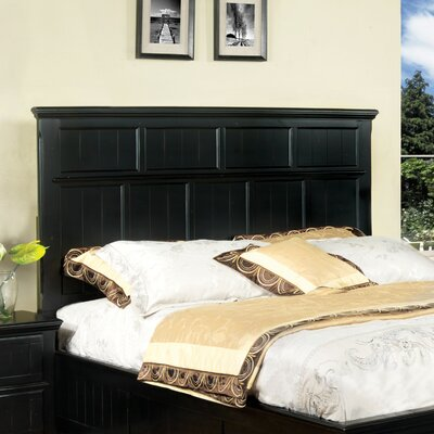 Panel Headboard Upholstery: Black, Size: Twin