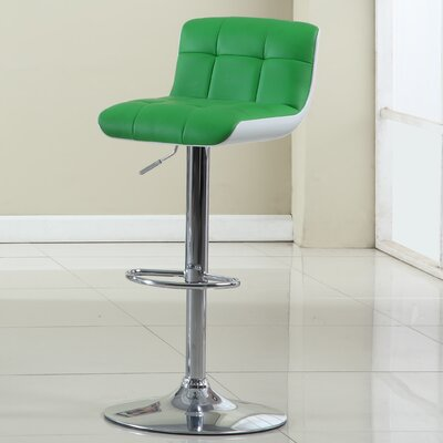Adjustable Height Swivel Bar Stool Upholstery: Apple Green