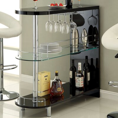 Holla Lacquer Bar with Wine Storage Finish: Black