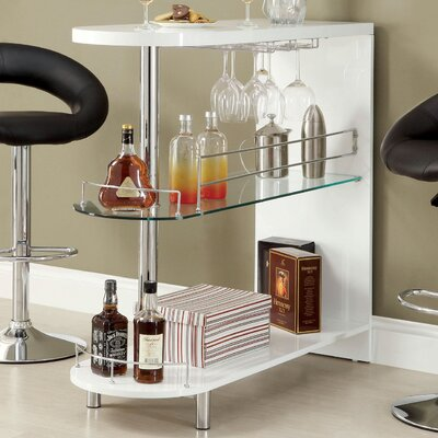 Holla Lacquer Bar with Wine Storage Color: White