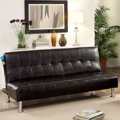 Perz Convertible Sofa Upholstery: Black