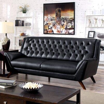Daine Modern Tufted Sofa Upholstery: Black