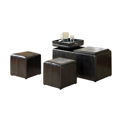 Beckan 3 Piece Storage Leather Ottoman Set
