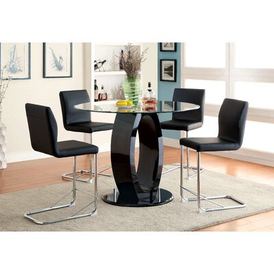 Benedict 5 Piece Dining Set Upholstery Black