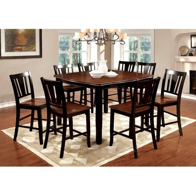 Carolina 9 Piece Counter Height Pub Dining Set Finish: Black / Cherry