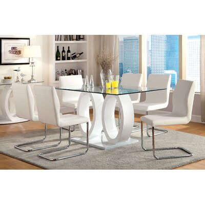 Benedict 7 Piece Dining Set Upholstery White