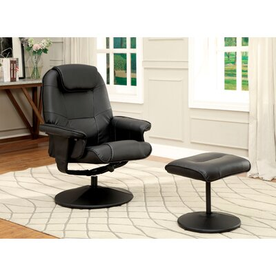 Klaus Wingback Chair & Ottoman Color: Black