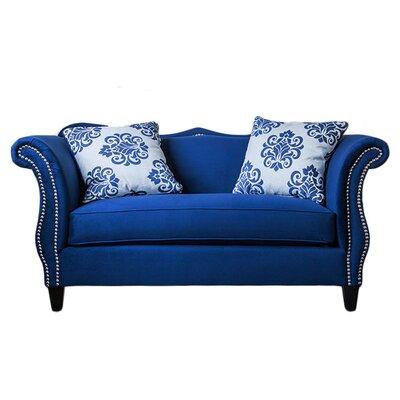 Emillio Premium Upholstered Loveseat Upholstery: Royal Blue