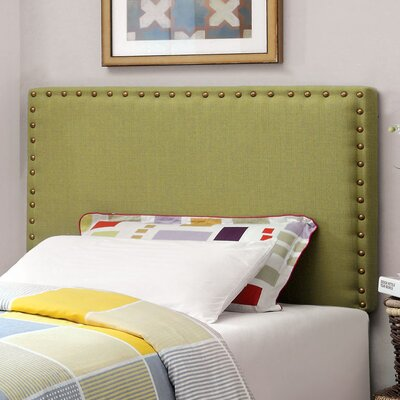 Rosinski Upholstered Panel Headboard Size: Twin, Upholstery: Green