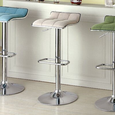 Adjustable Height Swivel Bar Stool Upholstery: Ivory