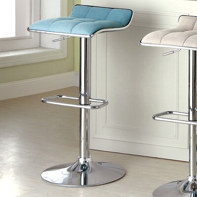 Churchill Adjustable Height Swivel Bar Stool Upholstery: Blue