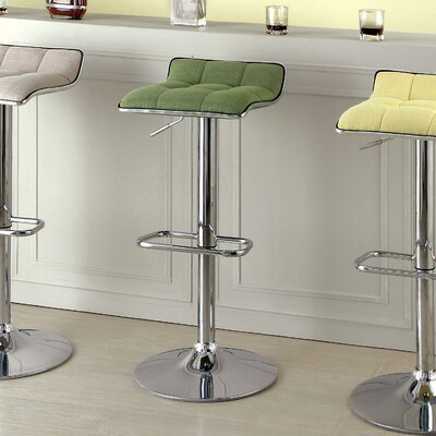 Churchill Adjustable Height Swivel Bar Stool Upholstery: Green