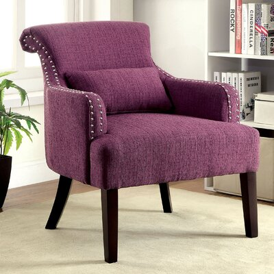 Marlow Wing back Chair Color: Purple