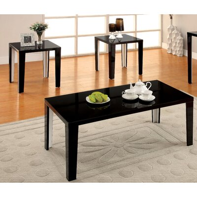 Latanya 3 Piece Coffee Table Set Finish: Black