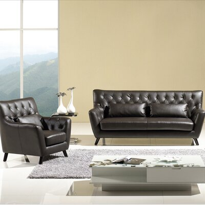 Chester Sofa Set Upholstery: Dark Espresso