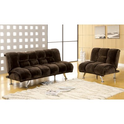 Jopelli Flannel Sleeper Sofa and Chair Set Upholstery: Dark Brown