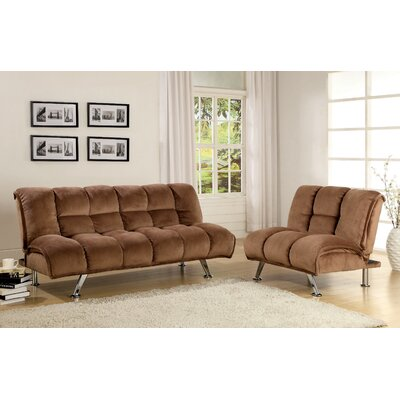 Jopelli Flannel Sleeper Sofa and Chair Set Upholstery: Taupe