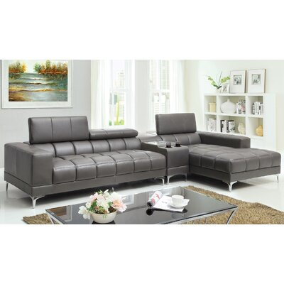 Derrikke Reversible Reclining Sectional Upholstery: Gray