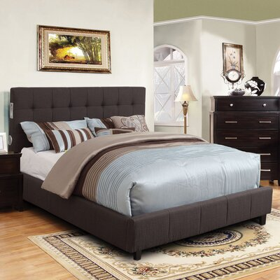 Upholstered Panel Bed Size: California King, Upholstery: Gray