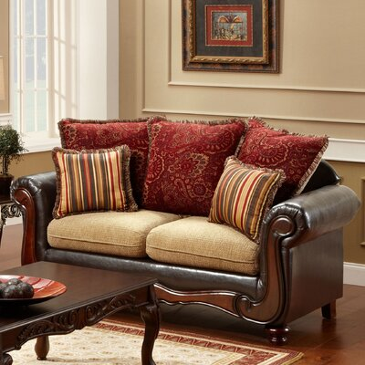 JEG-8501-MW XHX1099 Hokku Designs Philip Cotton and Leatherette Loveseat